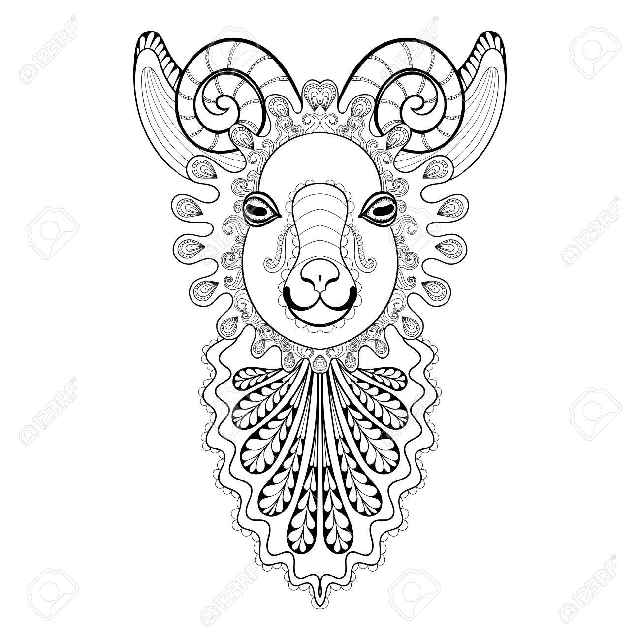 2df2a595d Vector - Vector zentangle Ram Head illustration, Goat print for adult anti  stress coloring page. Hand drawn artistically ornamental patterned  decorative ...