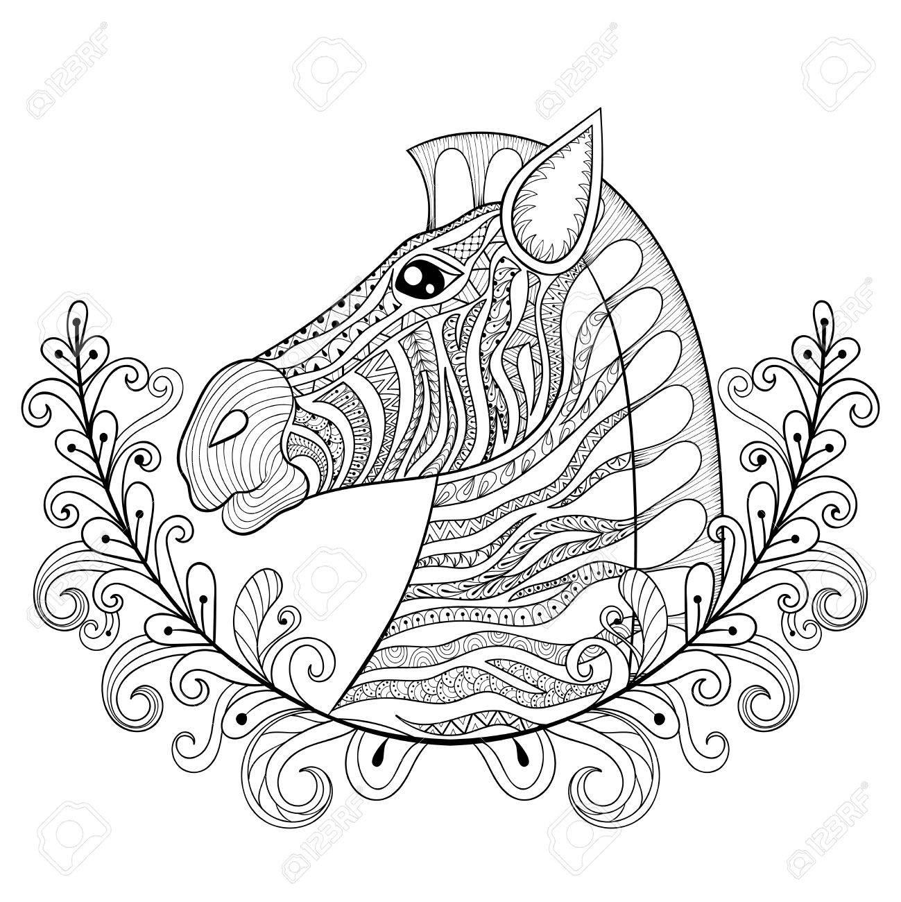 Cebra En Marco Floral. Vector La Ilustración Del Zentangle Principal ...
