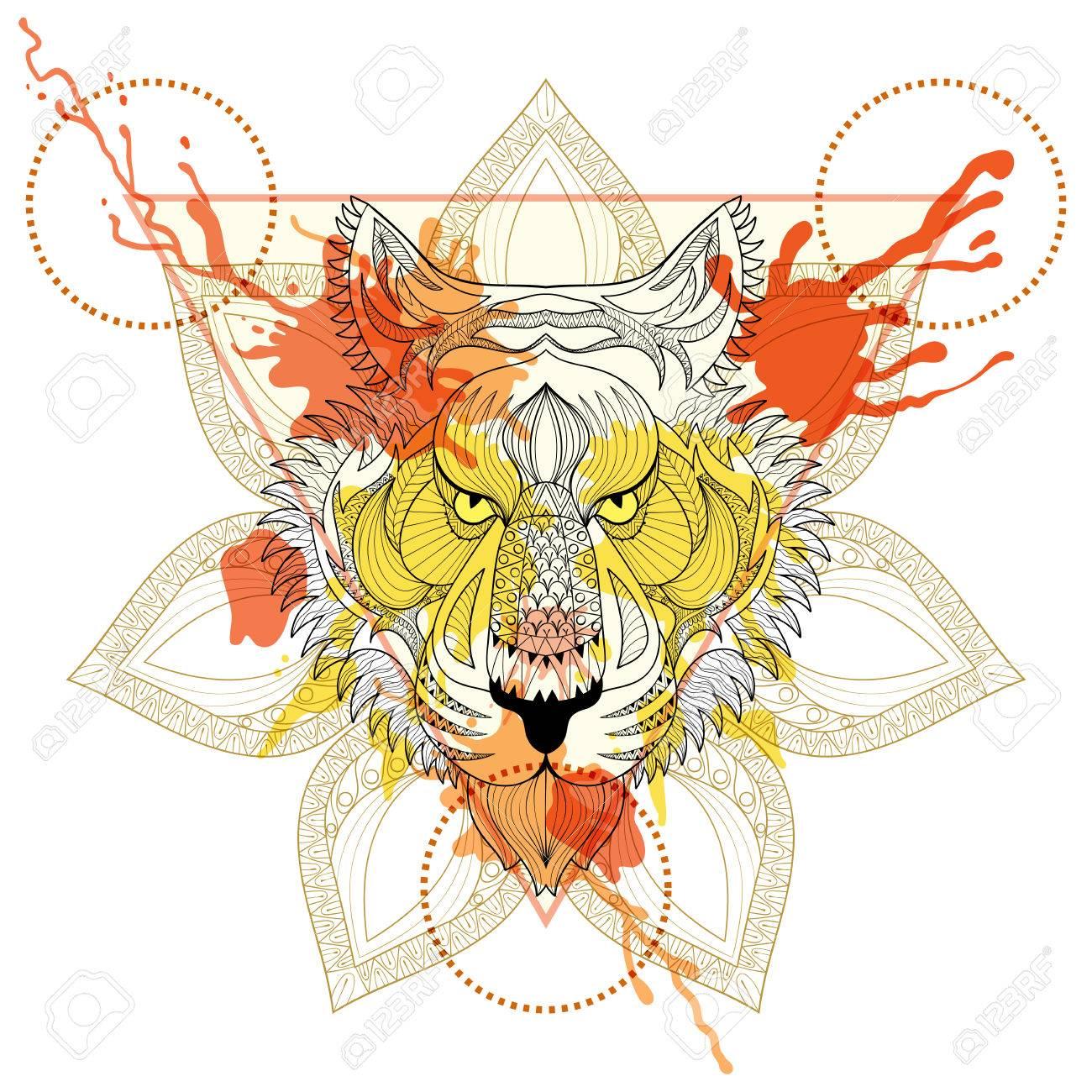 Zentangle Estilizado Tigre En El Marco De Triángulo Con Gotas De ...