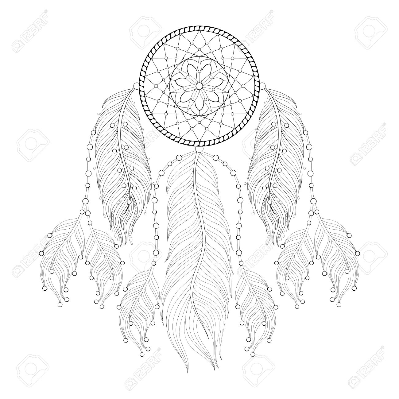 Hand Drawn Dream Catcher With Mehendi Mandala For Adult Coloring Pages Post Card T