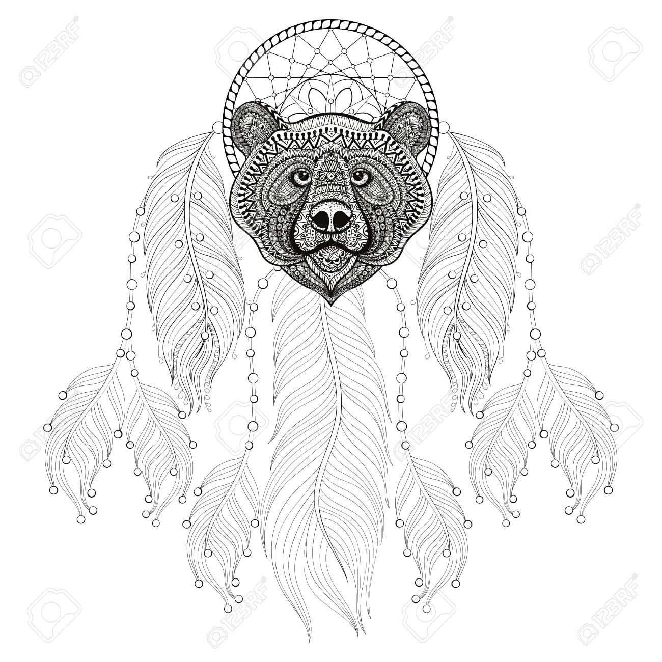 This is an image of Sweet Printable Adult Coloring Pages Dream Catchers