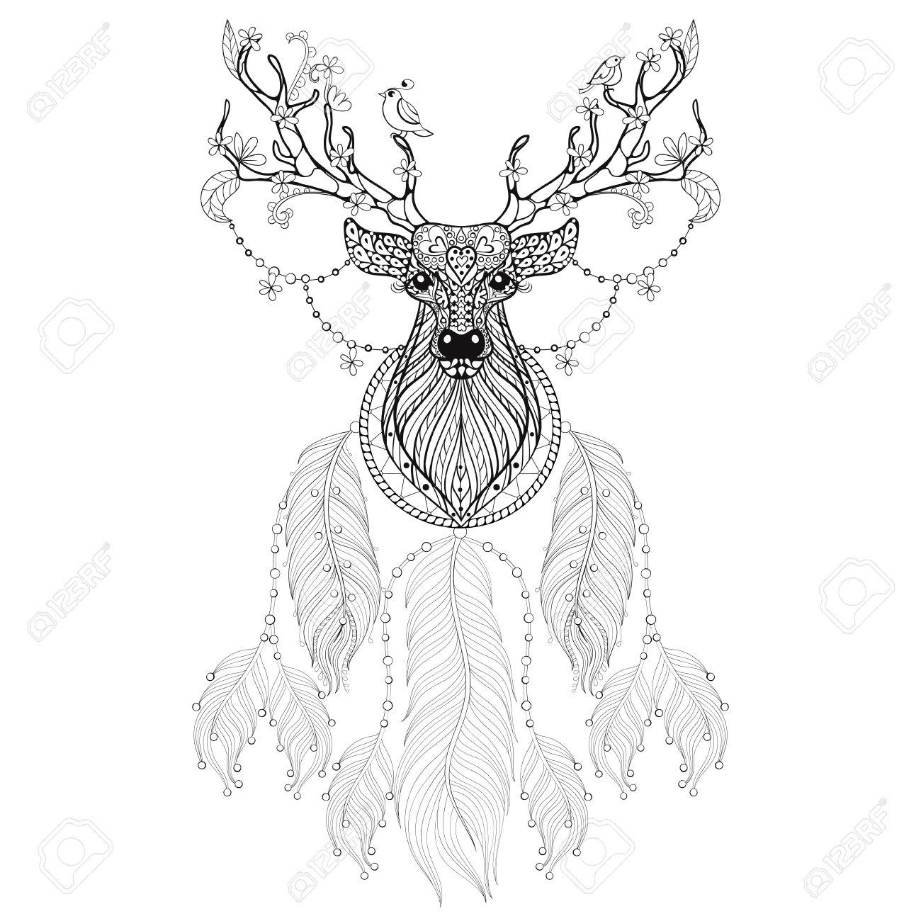 Hand Gezeichnet Traumfänger Mit Stammes Hprned Deer Mit Blumen Und ...