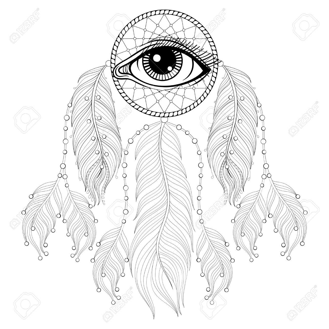 Dibujado A Mano Bohemio Dreamcatcher Con Los Ojos, Talismán Indio ...