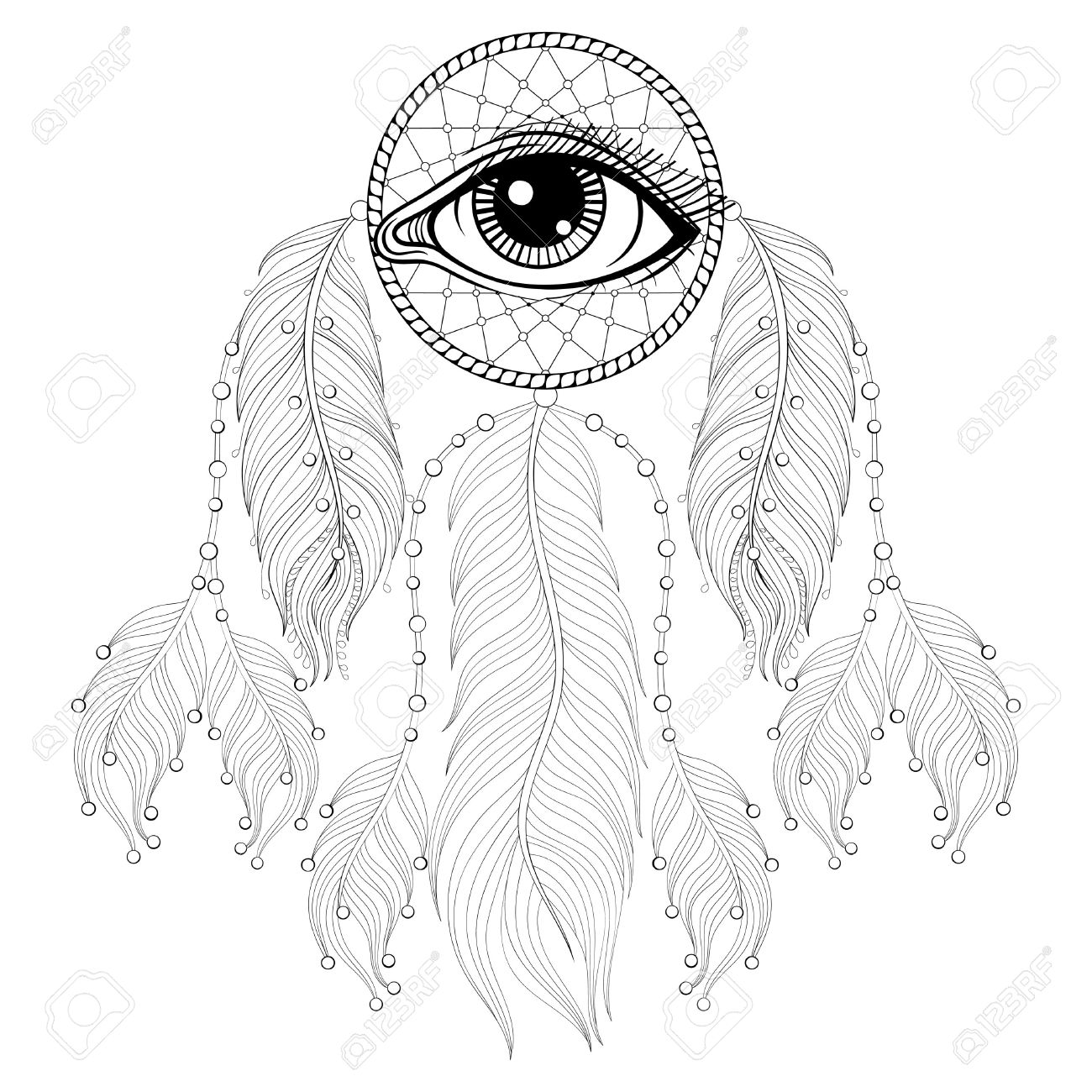 Hand drawn bohemian dreamcatcher with eye native american indian talisman for adult coloring pages