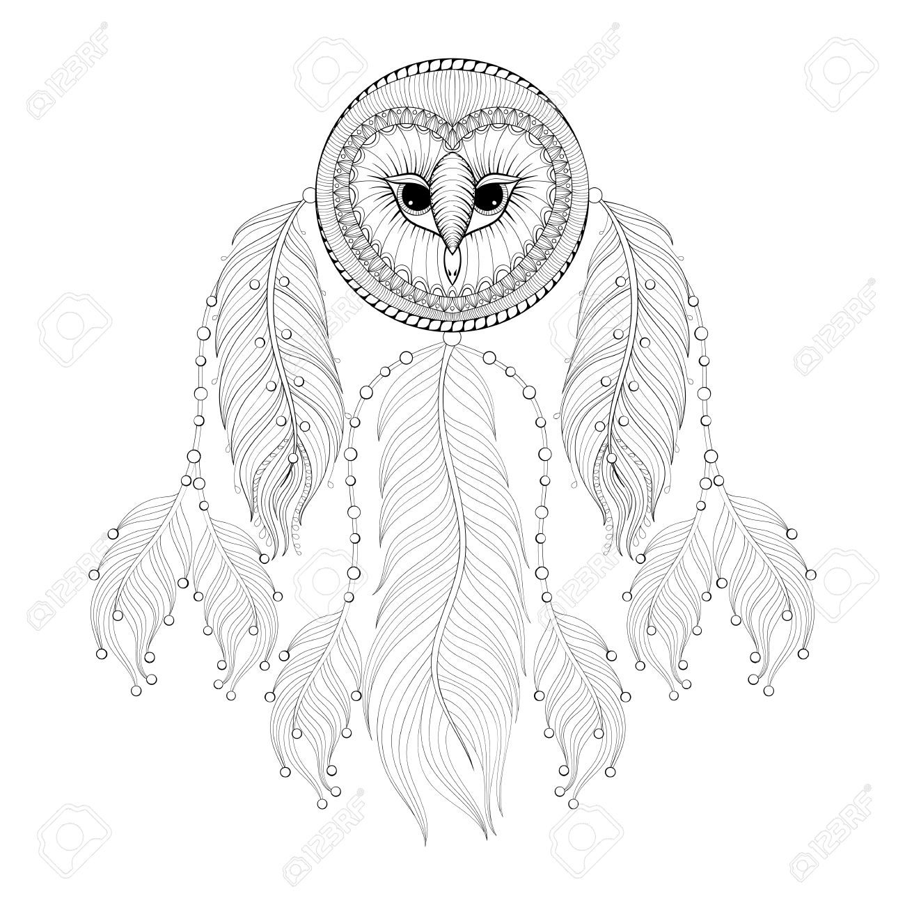 Hand Drawn Dreamcatcher With Tribal Owl Face For Adult Coloring Pages Post Card T