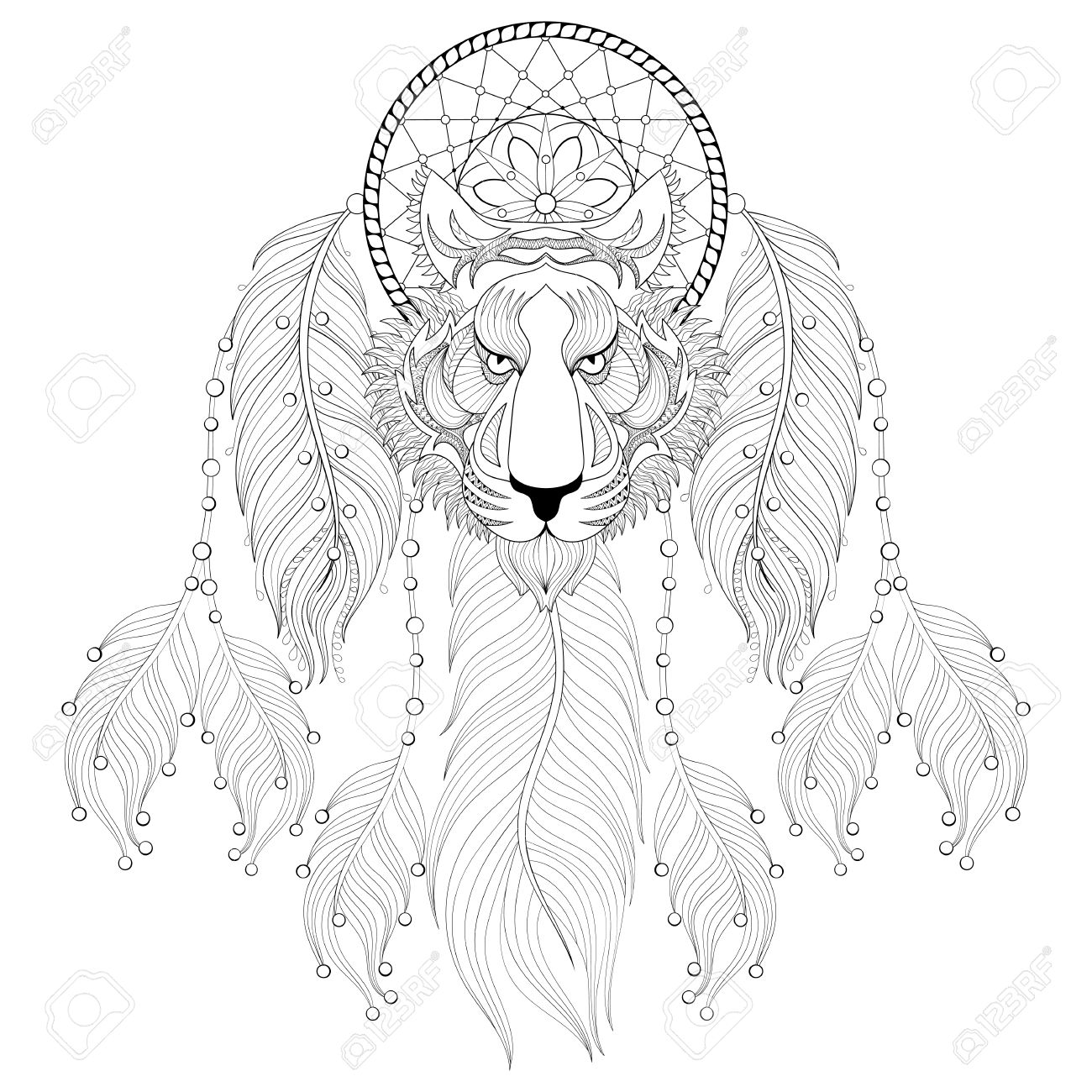 Dibujado A Mano Dreamcatcher Con La Cara Del Búho Tribal Para ...
