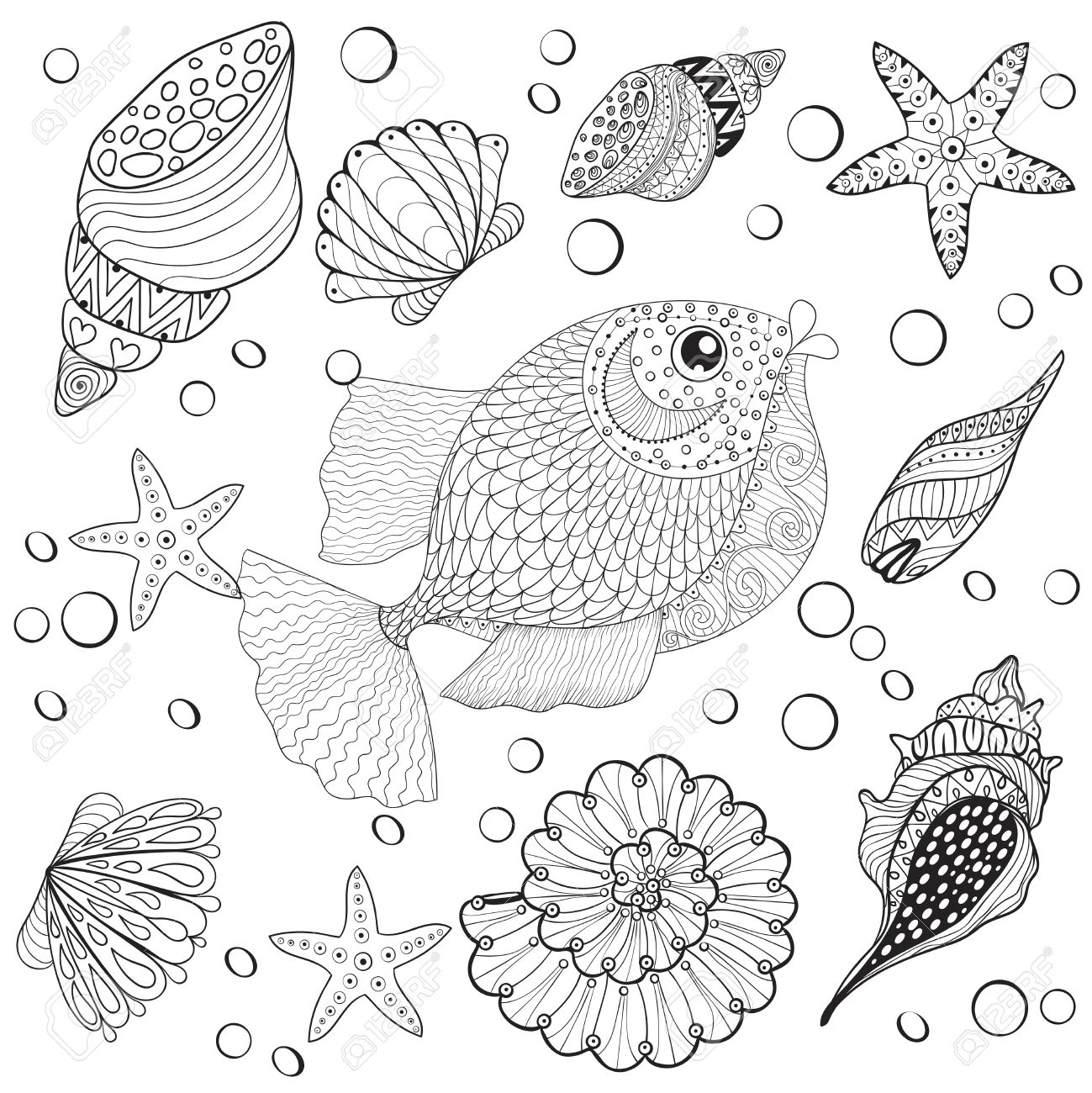 hand drawn fish with sea shells for anti stress coloring