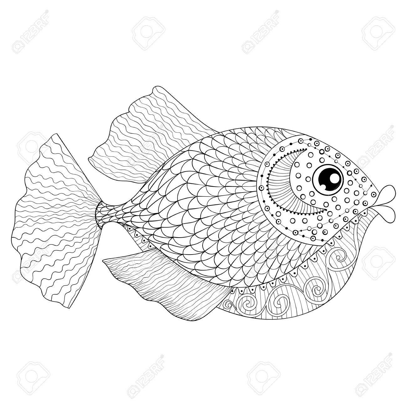 Hand Gezeichnet Fisch Für Erwachsene Anti-Stress-Malvorlagen ...