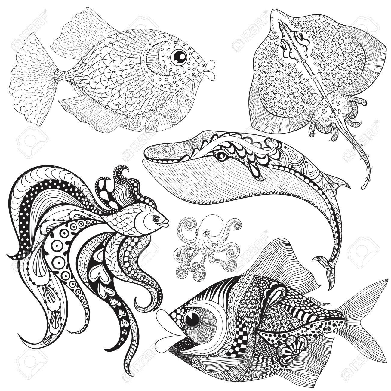 Common Stingray coloring page | Free Printable Coloring Pages | 1300x1300