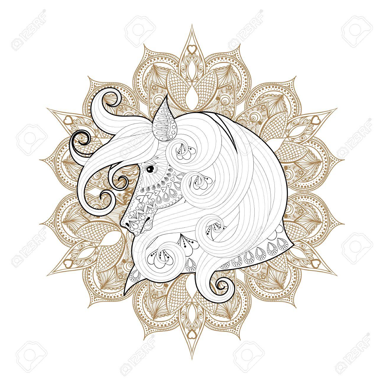 Dibujado A Mano Ornamental Caballo En Mandala Mehendi Para Colorear ...