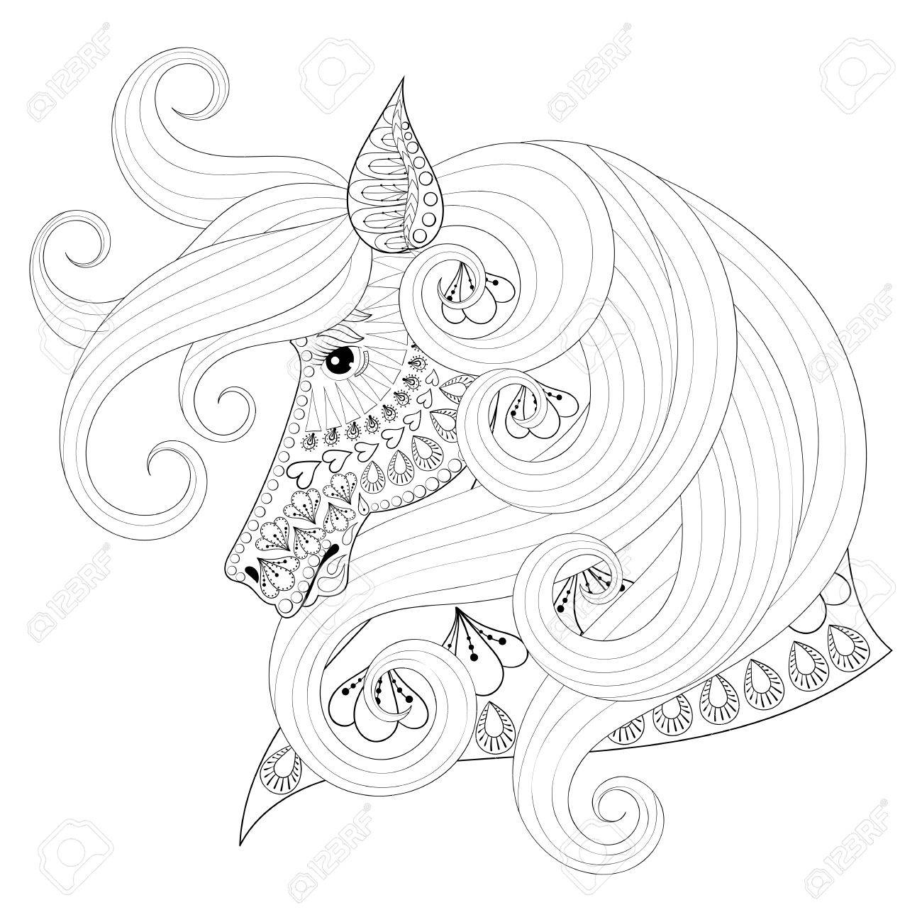 Hand Drawn Ornamental Horse For Adult Coloring Pages Post Card