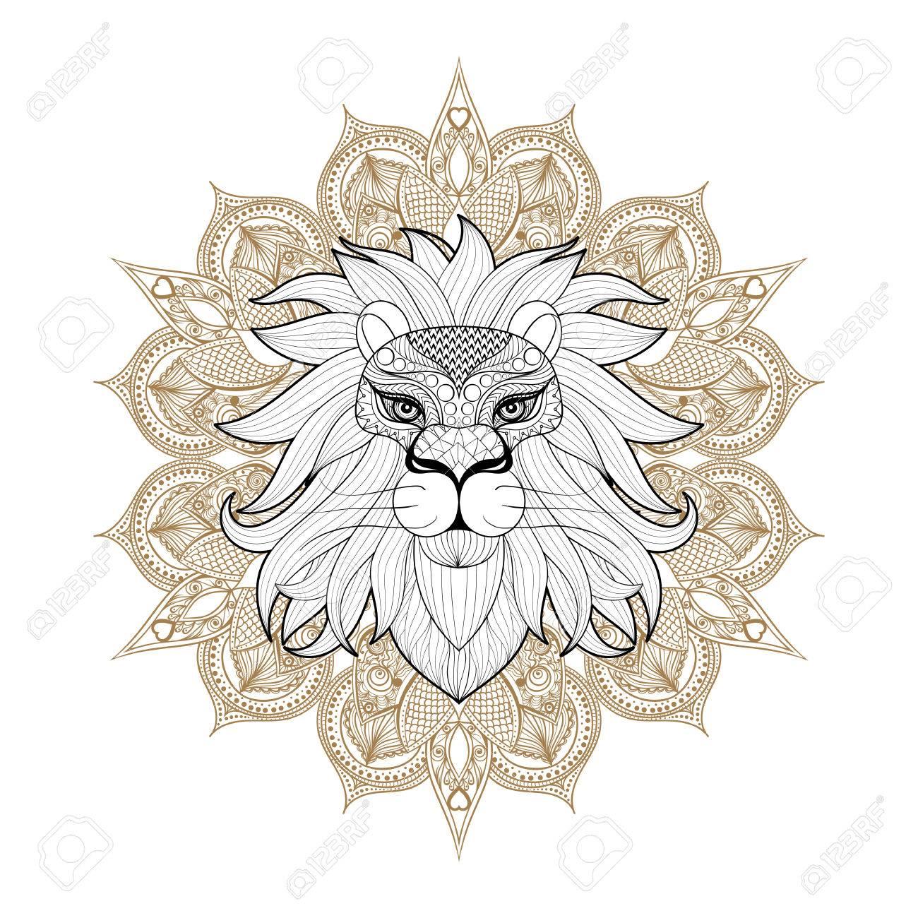Dibujado A Mano Ornamental León En Mandala Mehendi Para Colorear ...