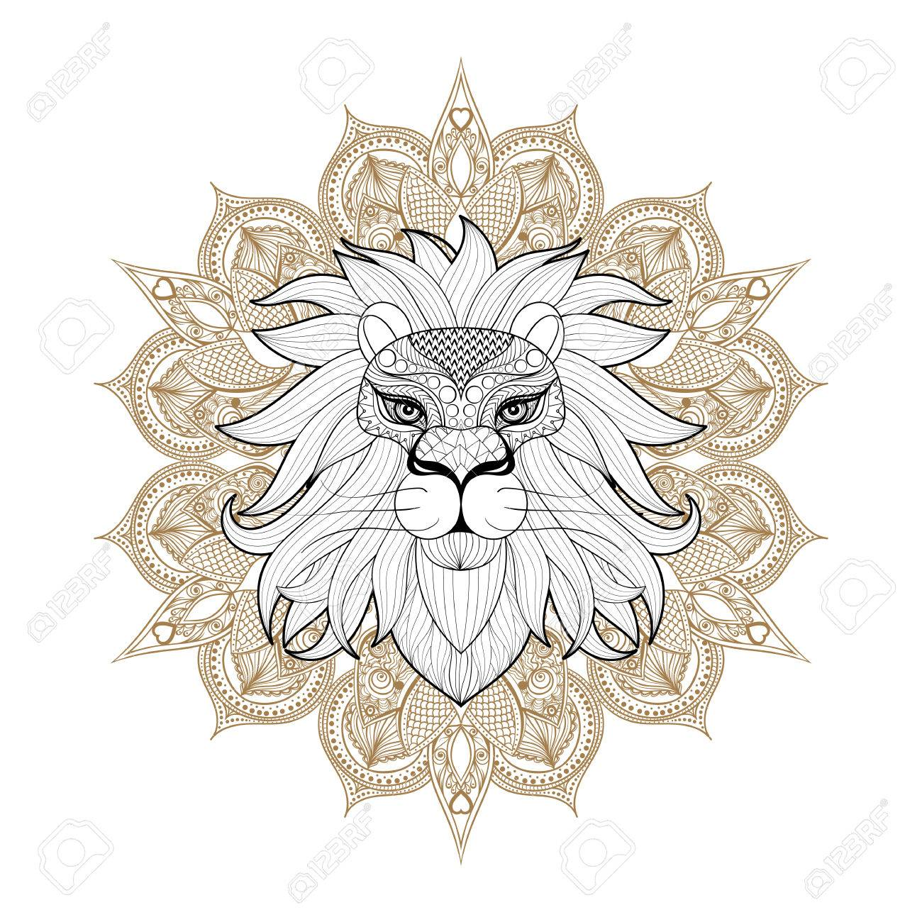 Hand Drawn Ornamental Lion On Mehendi Mandala For Adult Coloring - Lion-mandala-coloring-pages