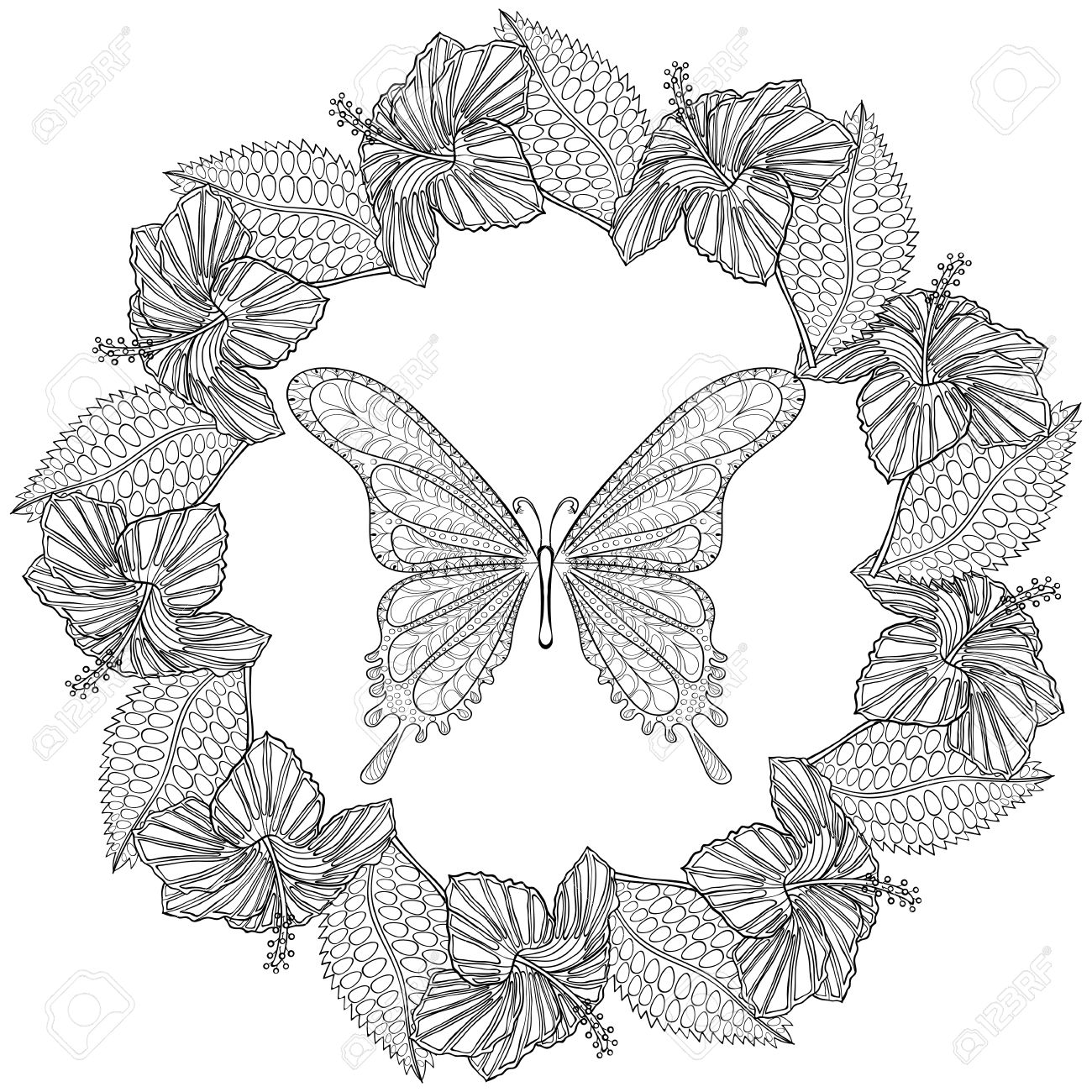 hand drawn butterfly in wreath of hibiskus flower for anti