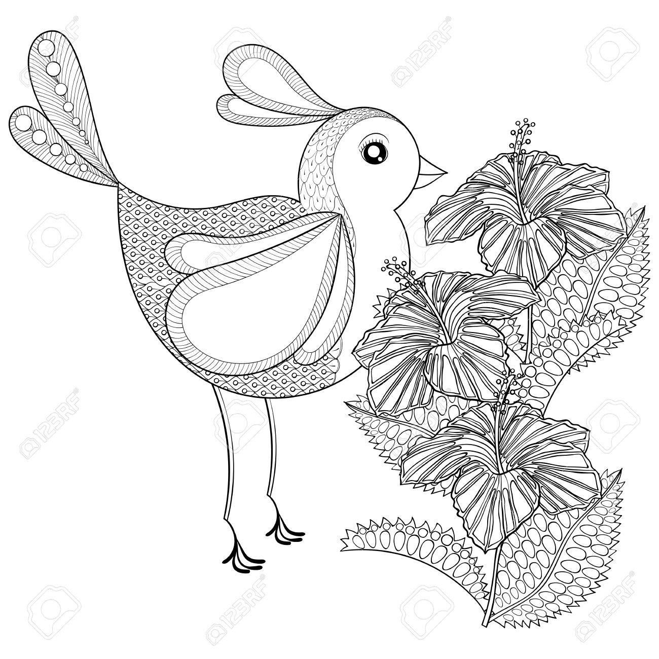 Dibujado A Mano Pájaro Exótico Tribal Y Flor De Hibisco De Páginas ...