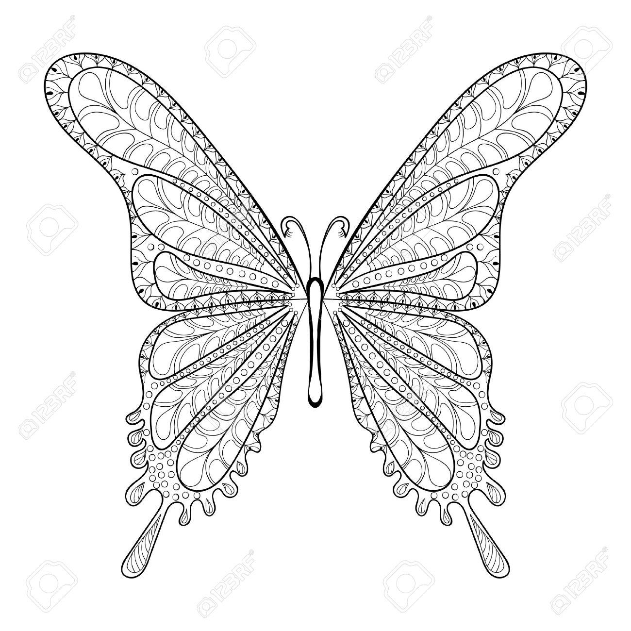 Dibujado A Mano Patrón De Mariposa Tribal De Páginas Para Colorear ...