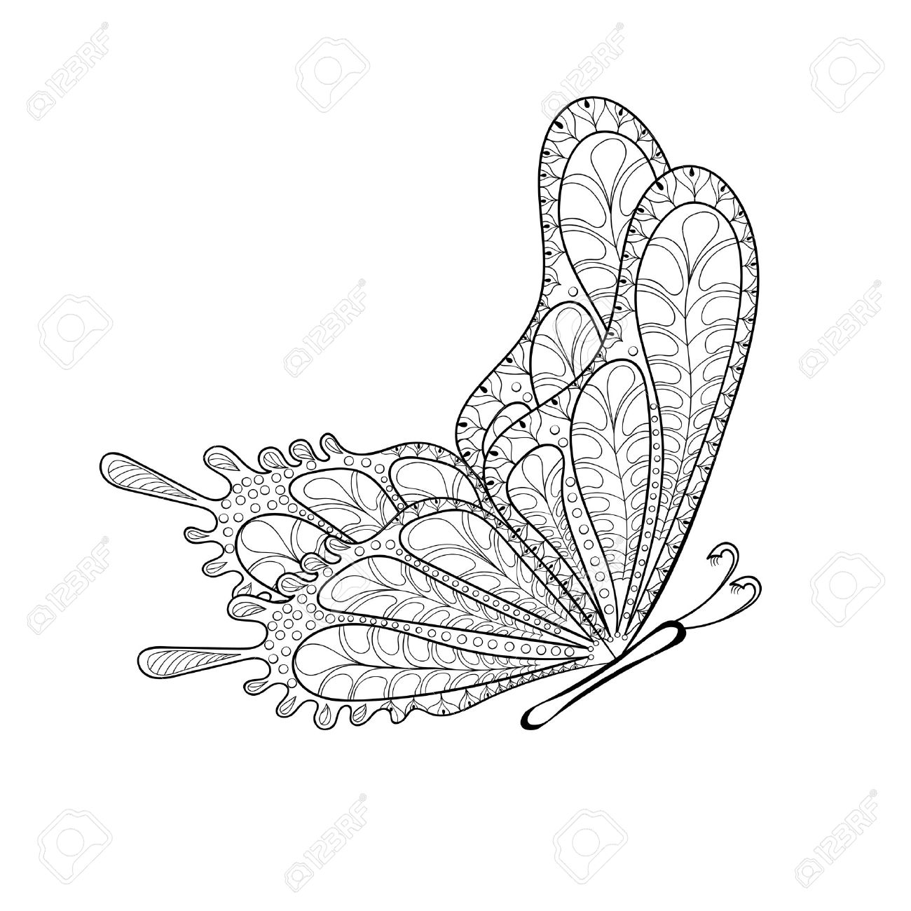 hand drawn tribal flying butterfly for adult anti stress coloring pages post card t - Stress Coloring