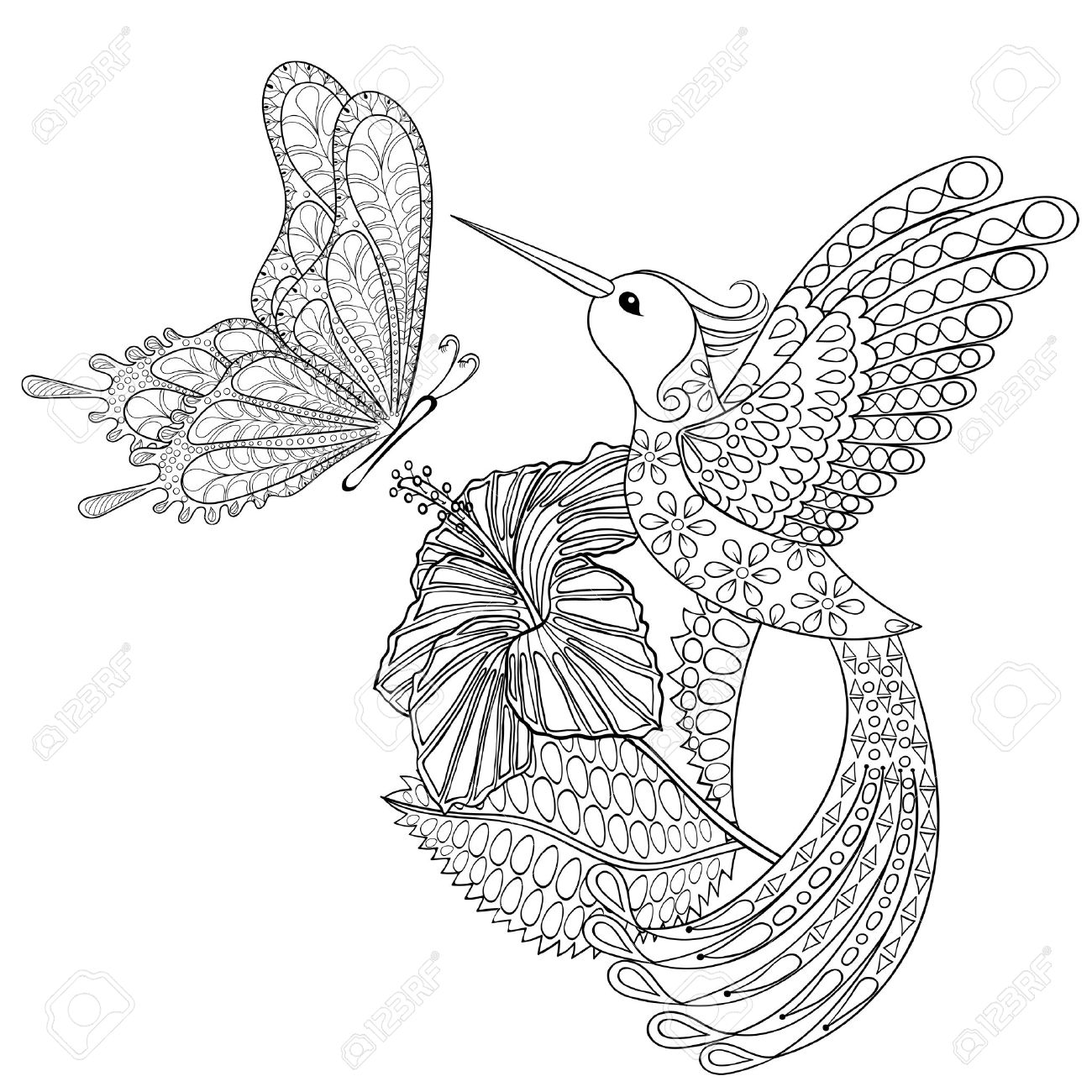 Hand Drawn Tribal Flying Butterfly Hummingbird In Hibiskus For
