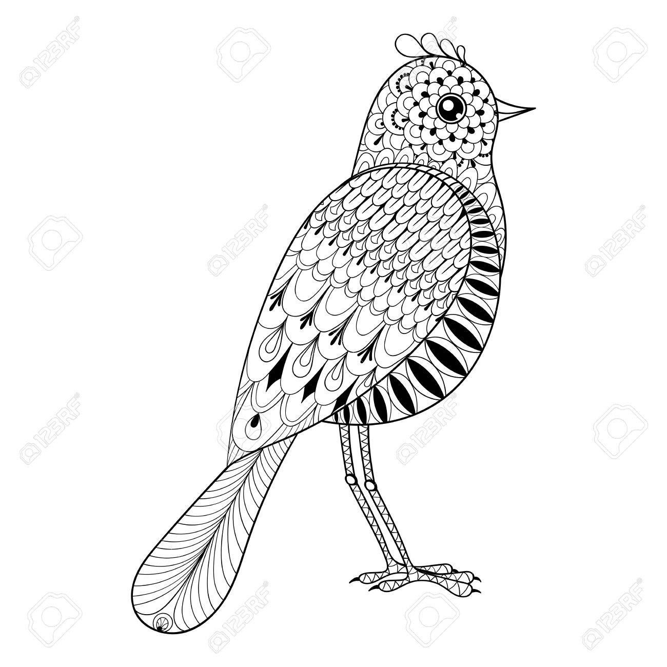 - Hand Drawn Artistic Bird For Adult Antistress Coloring Pages