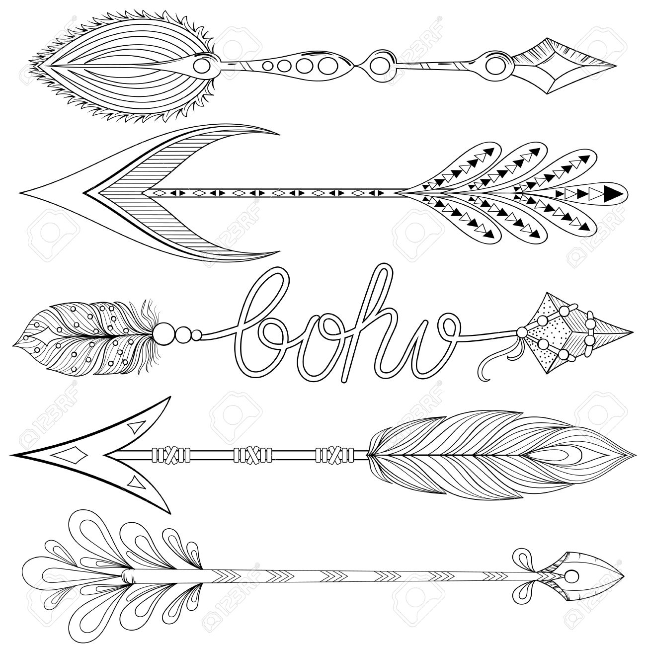bohemian arrows set with feathers hand drawn decorative arrows