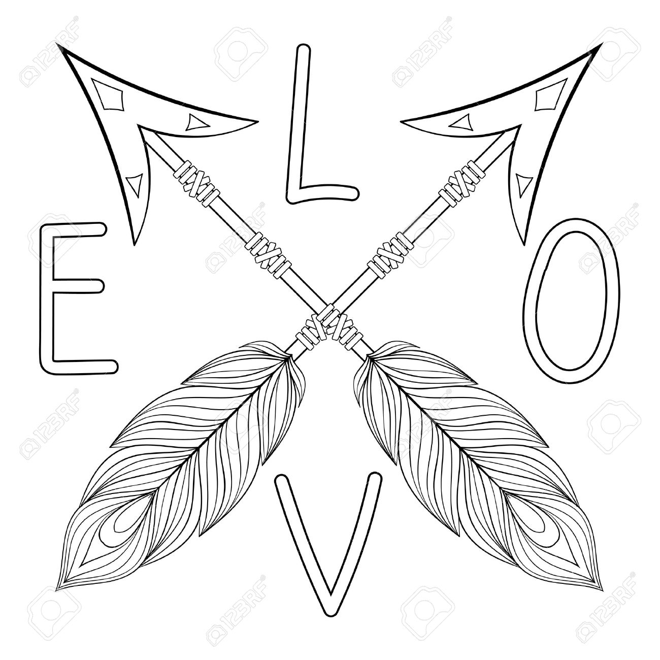 arrow coloring pages Bohemian Love Arrow Handpainted Sign With Feathers. Hand Drawn  arrow coloring pages