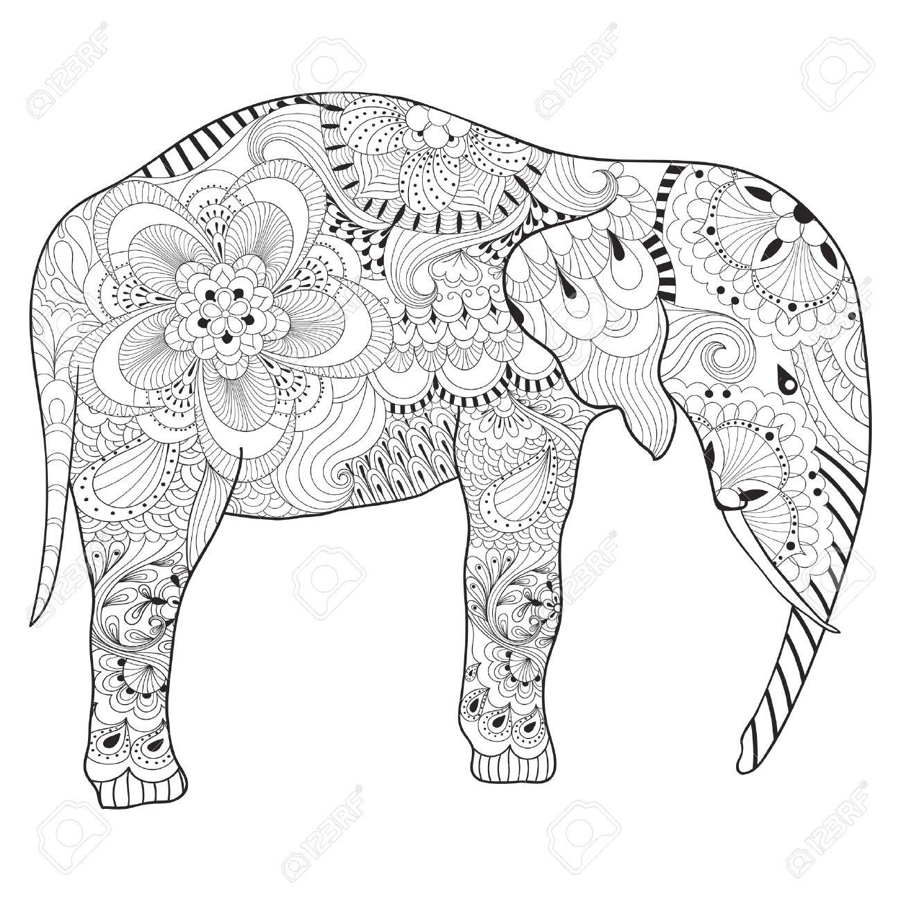 Dibujado A Mano Elefante Con La Mandala Para Colorear Antiestrés ...