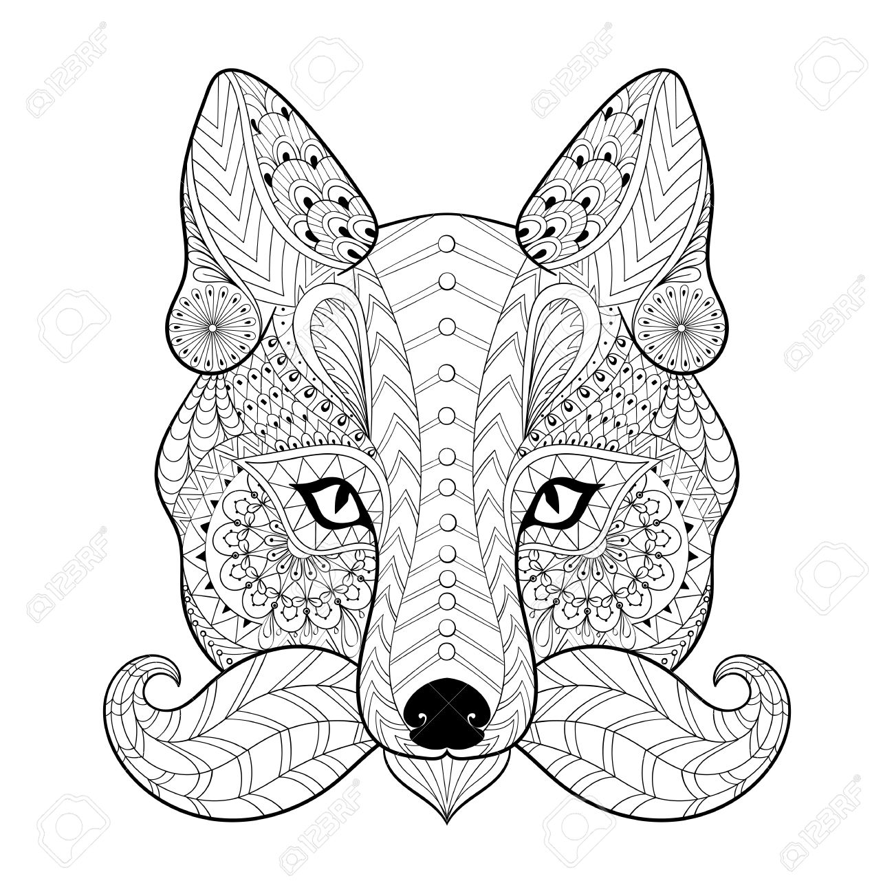Tribal Coloring Pages Hand Drawn Tribal Fox Face For Adult Anti Stress Coloring Pages