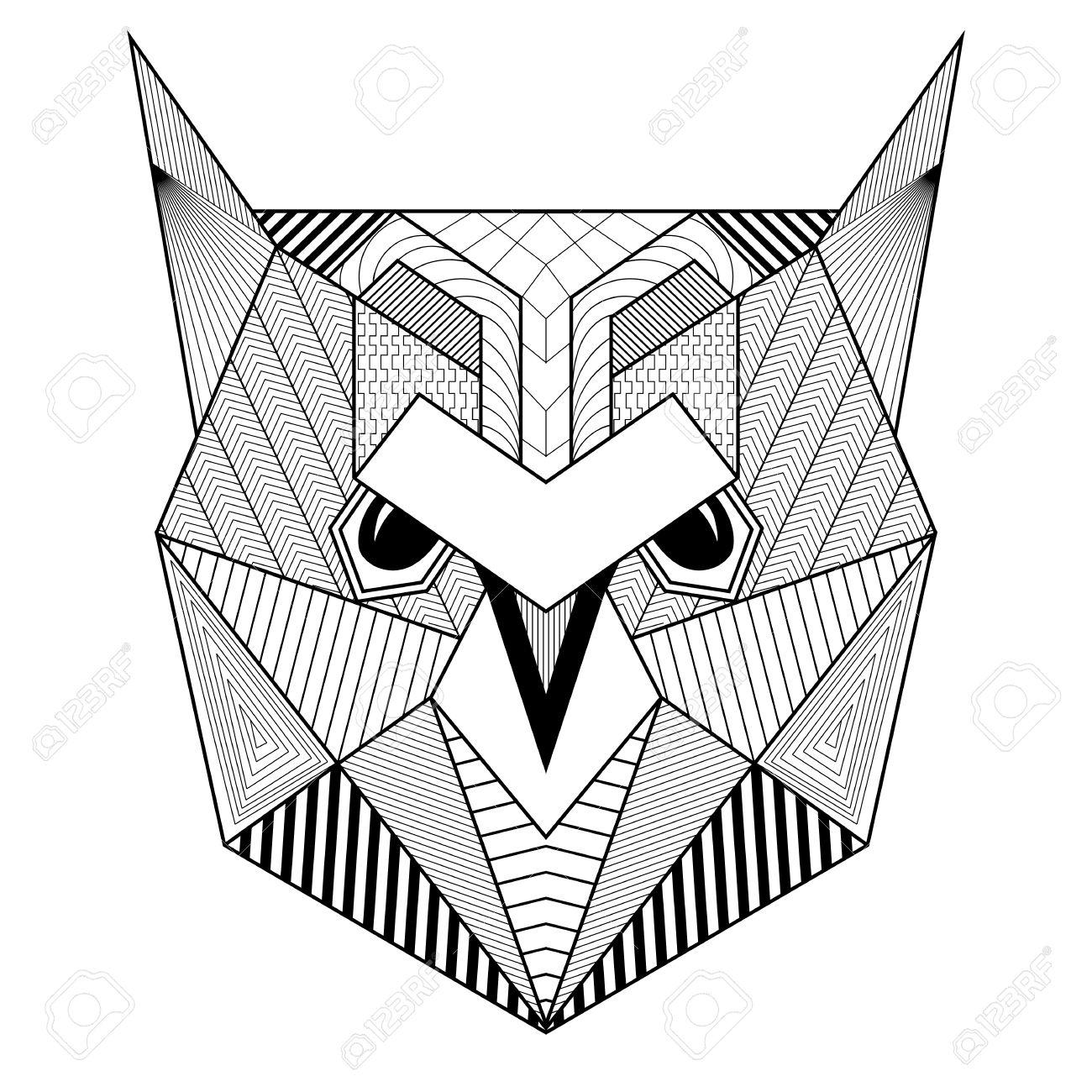 Dibujado Artística Del Pájaro Del Búho Para Colorear Adultos ...