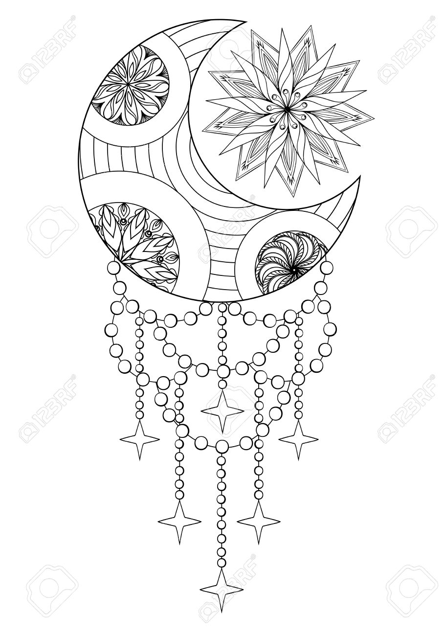 Bohemian Moon And Sun Hand Drawn For Adult Antistress Coloring Pages