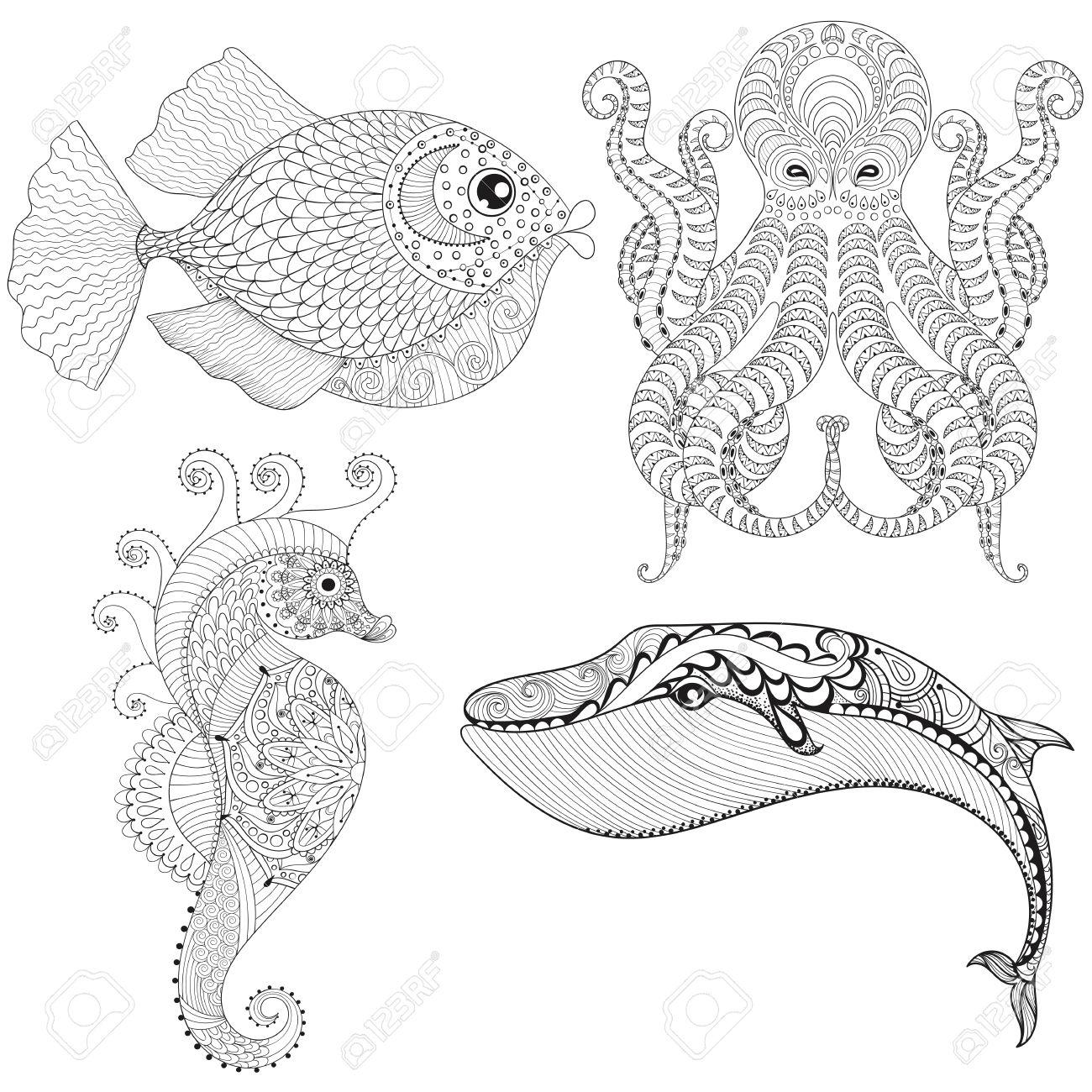 Dibujado A Mano Pulpo Artística Caballo De Mar Ballenas Pescado