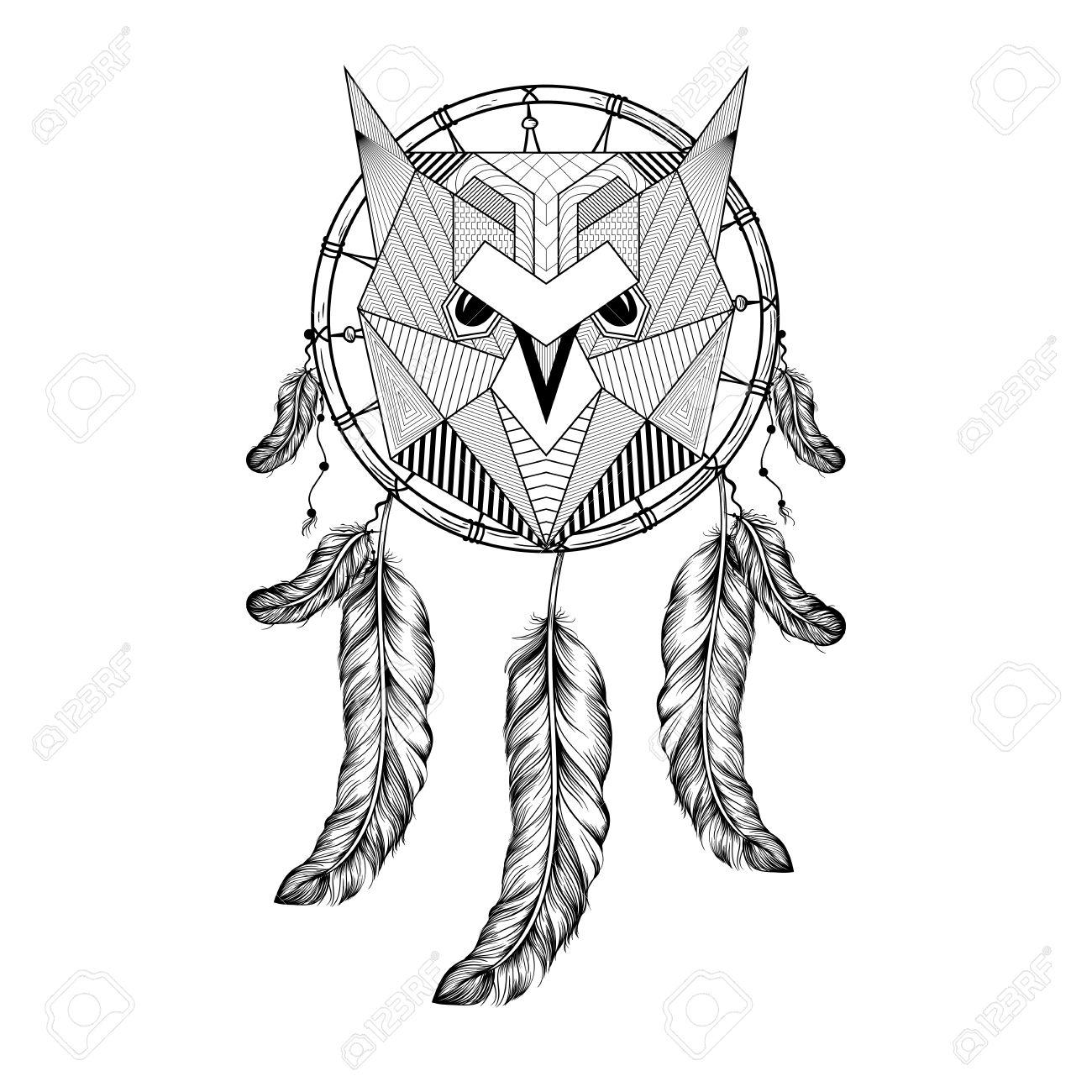 Dibujado A Mano Del Pájaro Del Búho El Recogedor De Sueño Con Plumas ...