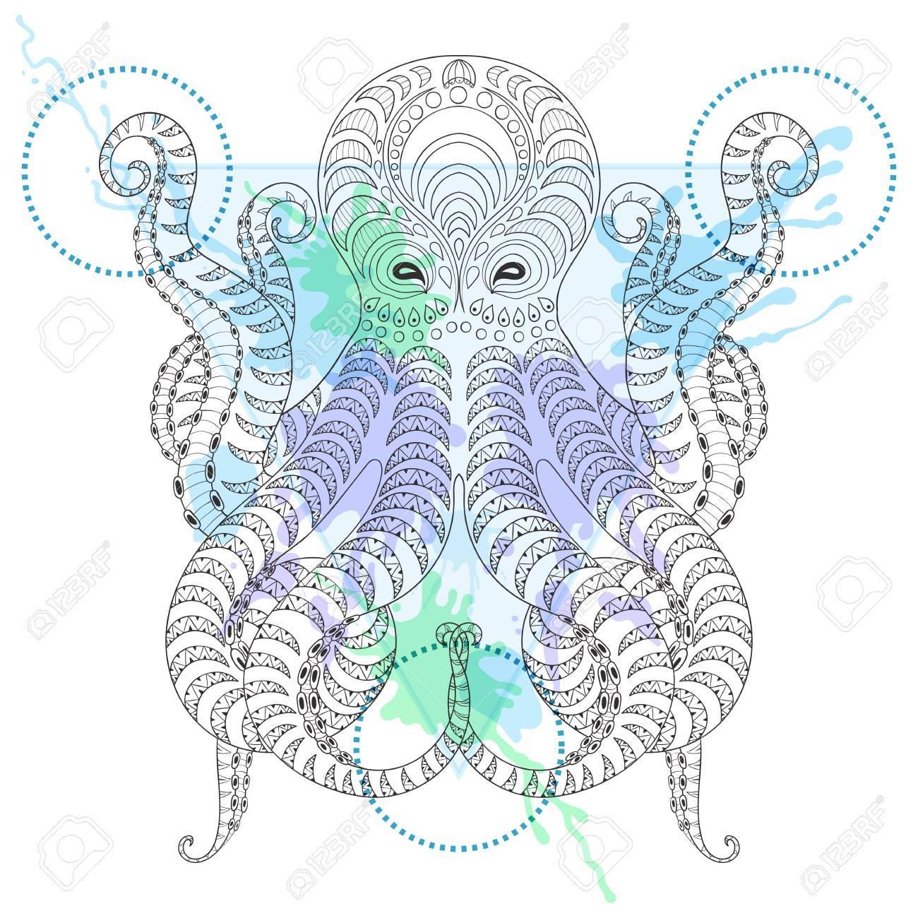 Tattoo Octopus. Stilisierte Hand Stammes  Krake In Aquarell Rahmen
