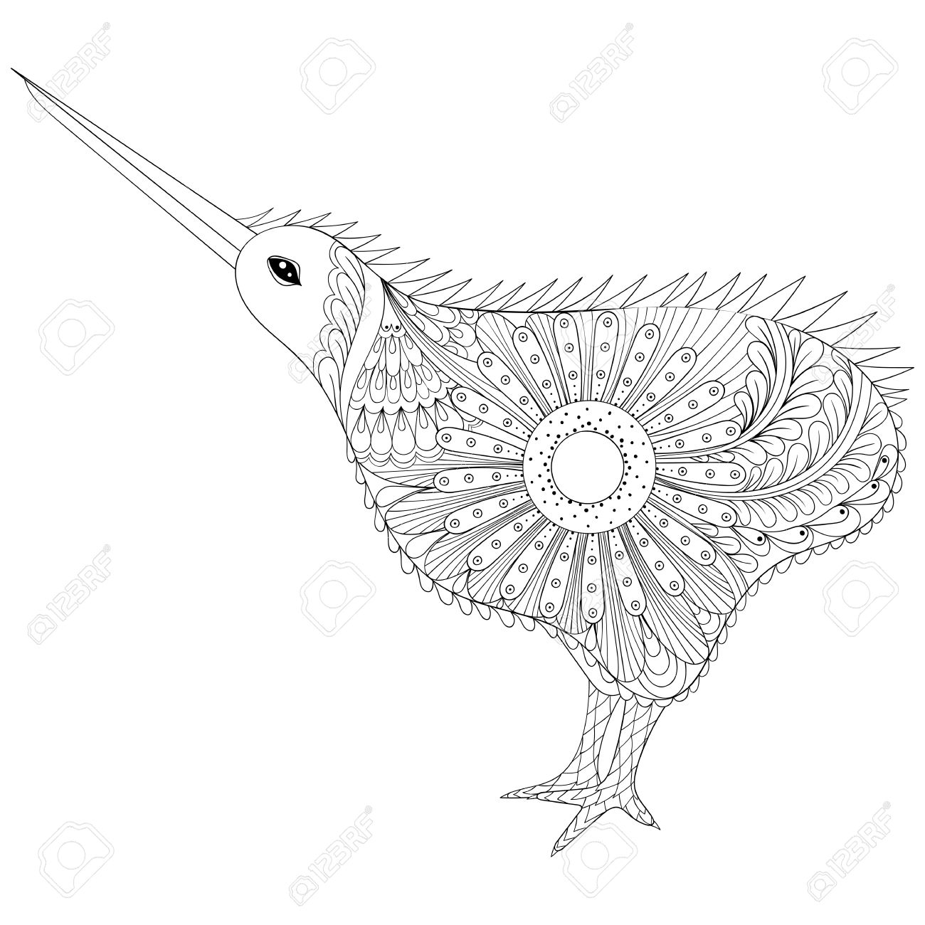 Marvelous Hand Drawn Tribal Kiwi Bird, Symbol Of New Zealand For Adult Anti Stress Coloring  Pages