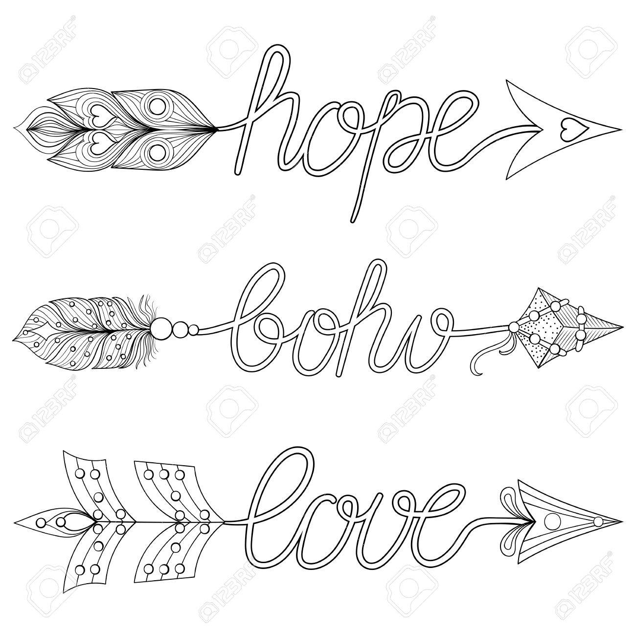 bohemian arrows signs boho love hope with feathers decorative