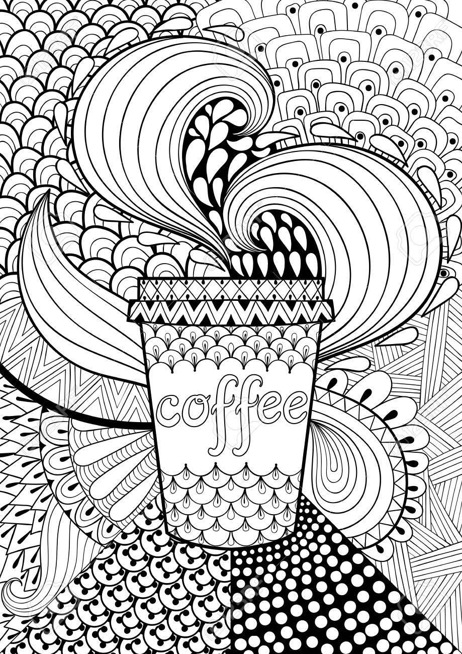 Café Con Dibujos De Fondo Para El Libro De Colorear Para Adultos ...