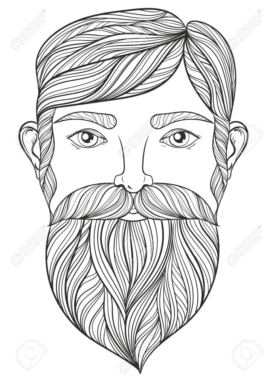 Vector Portrait of Man with Mustache and beard for adult coloring..