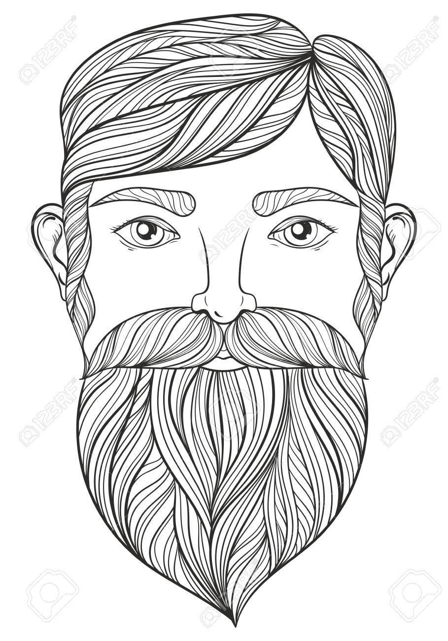 Vector Retrato De Hombre Con El Bigote Y La Barba Para Colorear ...