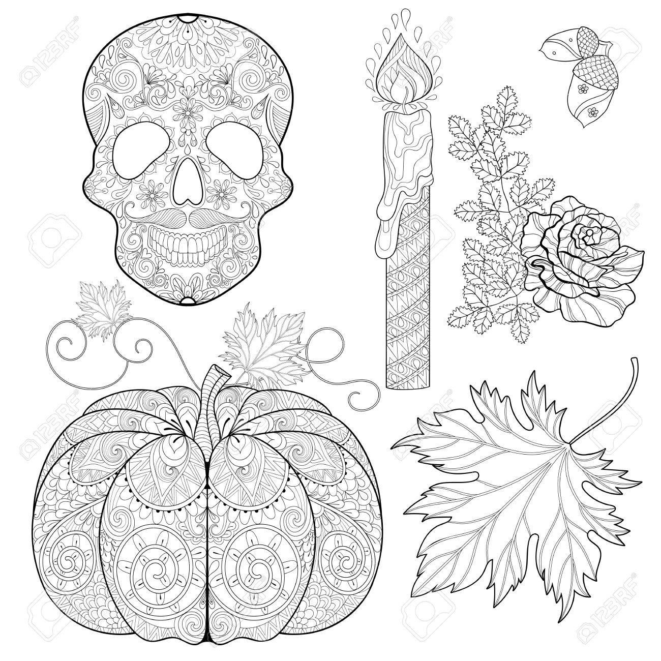 Estilizada Cráneo, Vela, Rosa, Bellota De Roble, Calabaza, Hojas De ...