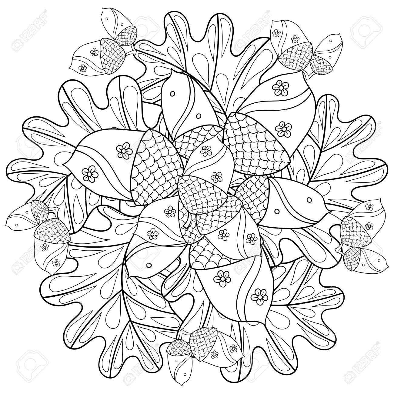 Vector Autumn Patterned Background With Oak Leaves And Trees For Adult Coloring Pages Hand Drawn