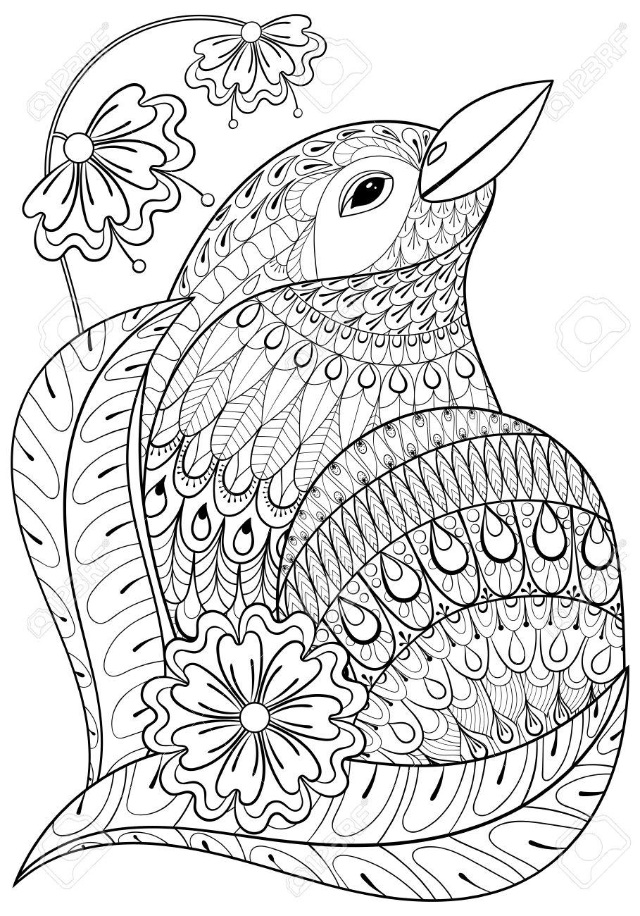 Aves Exóticas En Las Flores. Dibujado A Mano étnica De Los Animales ...