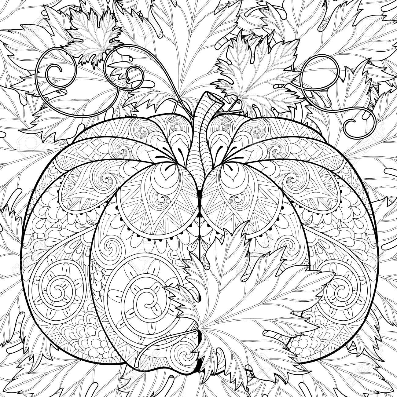 Coloriage Anti Stress Automne.Citrouille Stylise Sur Les Feuilles D Automne De Fond Pour L Halloween Croquis Freehand Pour Coloriage Anti Stress Adulte Withdoodle Elements