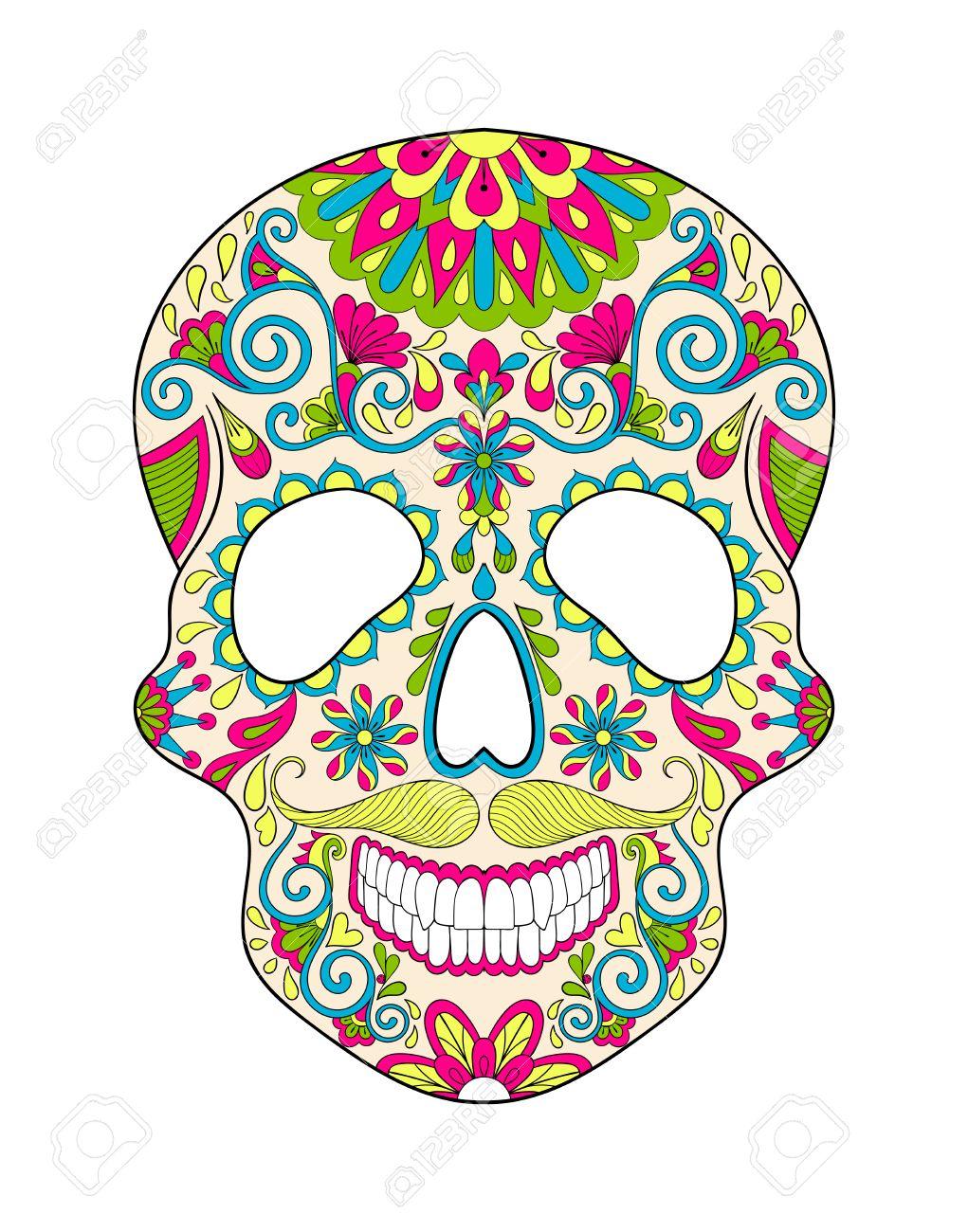En Color Estilizada Cráneo Para Halloween. Boceto A Mano Alzada Para ...