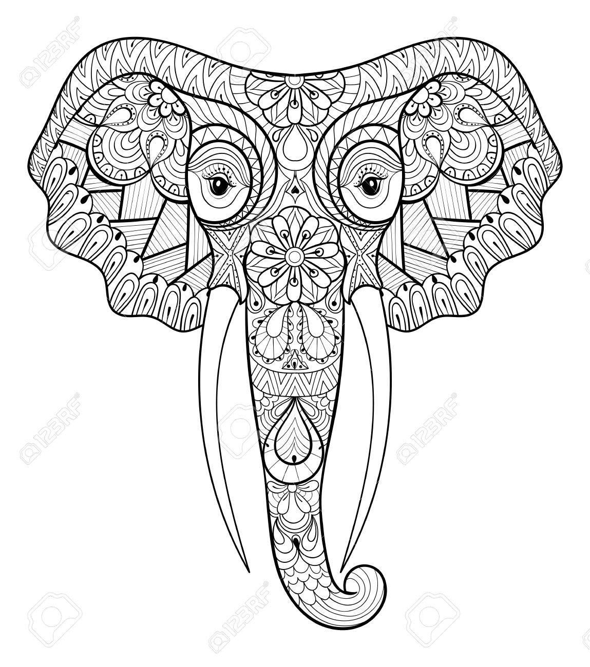 Estilizada étnica Elefante Indio. Boceto A Mano Alzada Para El ...