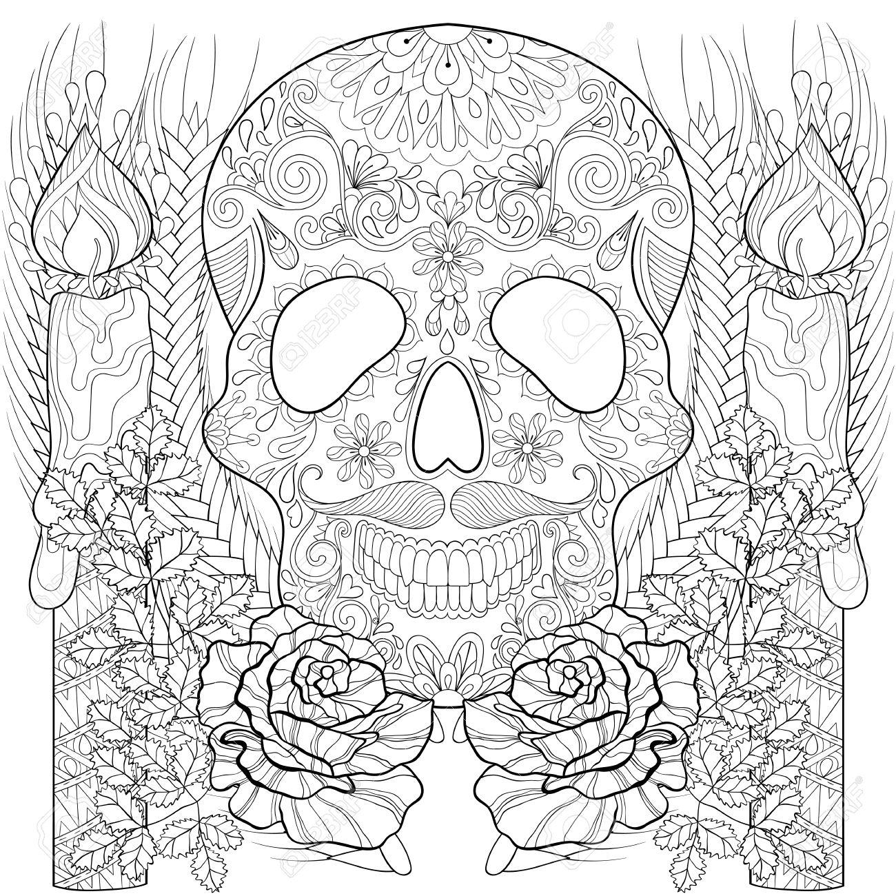 Stylisé Crâne Avec Des Bougies Des Roses Des Oreilles Pour Halloween Croquis Freehand Pour Coloriage Adulte Livre Avec Des éléments Artistiquement