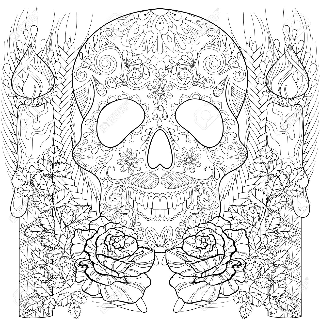 stylized skull with candles roses ears for halloween freehand