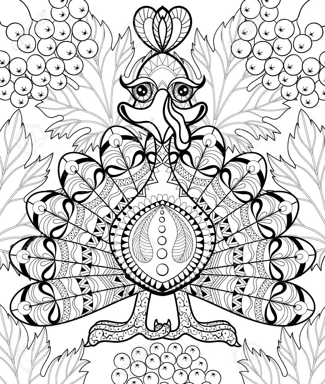 Stylized Turkey With Autumn Leaves For Thanksgiving Day Freehand Sketch Adult Anti Stress Coloring