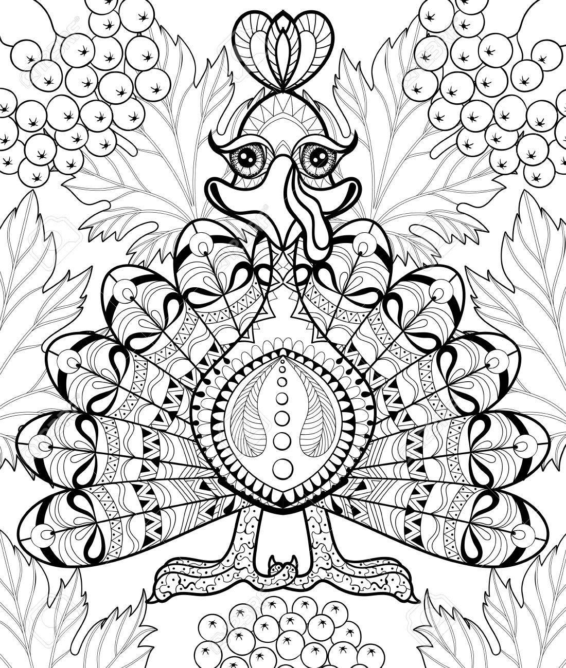 Coloriage Anti Stress Automne.Turquie Stylisee Avec Des Feuilles D Automne Pour Le Jour De Thanksgiving Croquis A Main Levee Pour Coloriage Anti Stress Adulte Avec Des Elements De