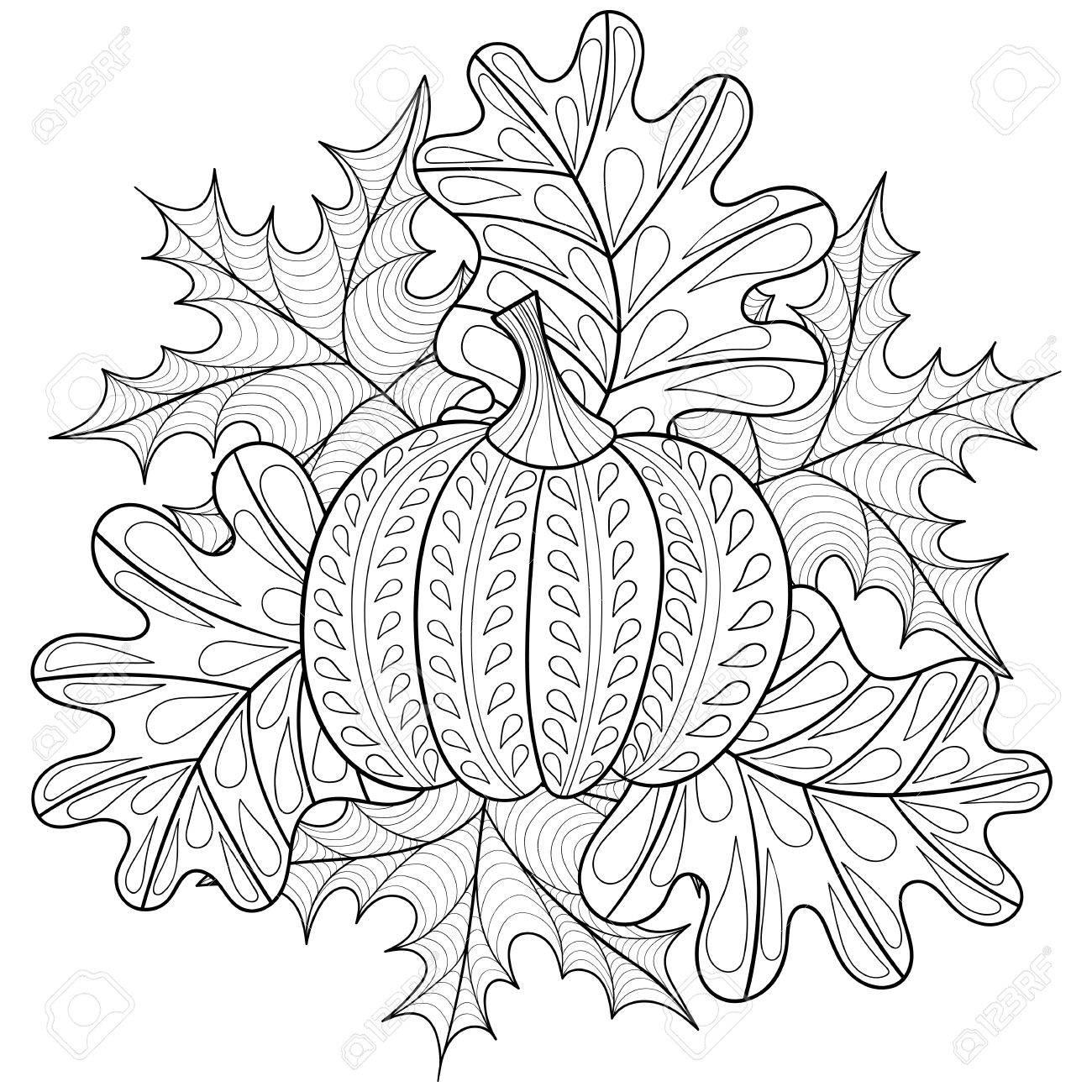 Vector Herbst Gemusterten Hintergrund Mit Kürbis Ahorn Und Eiche