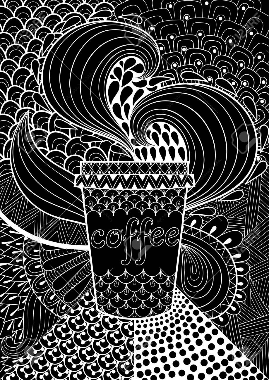 Coloriage Adulte Fond Noir.Fond Noir A Motifs De Cafe Pour Livre De Coloriage Adulte