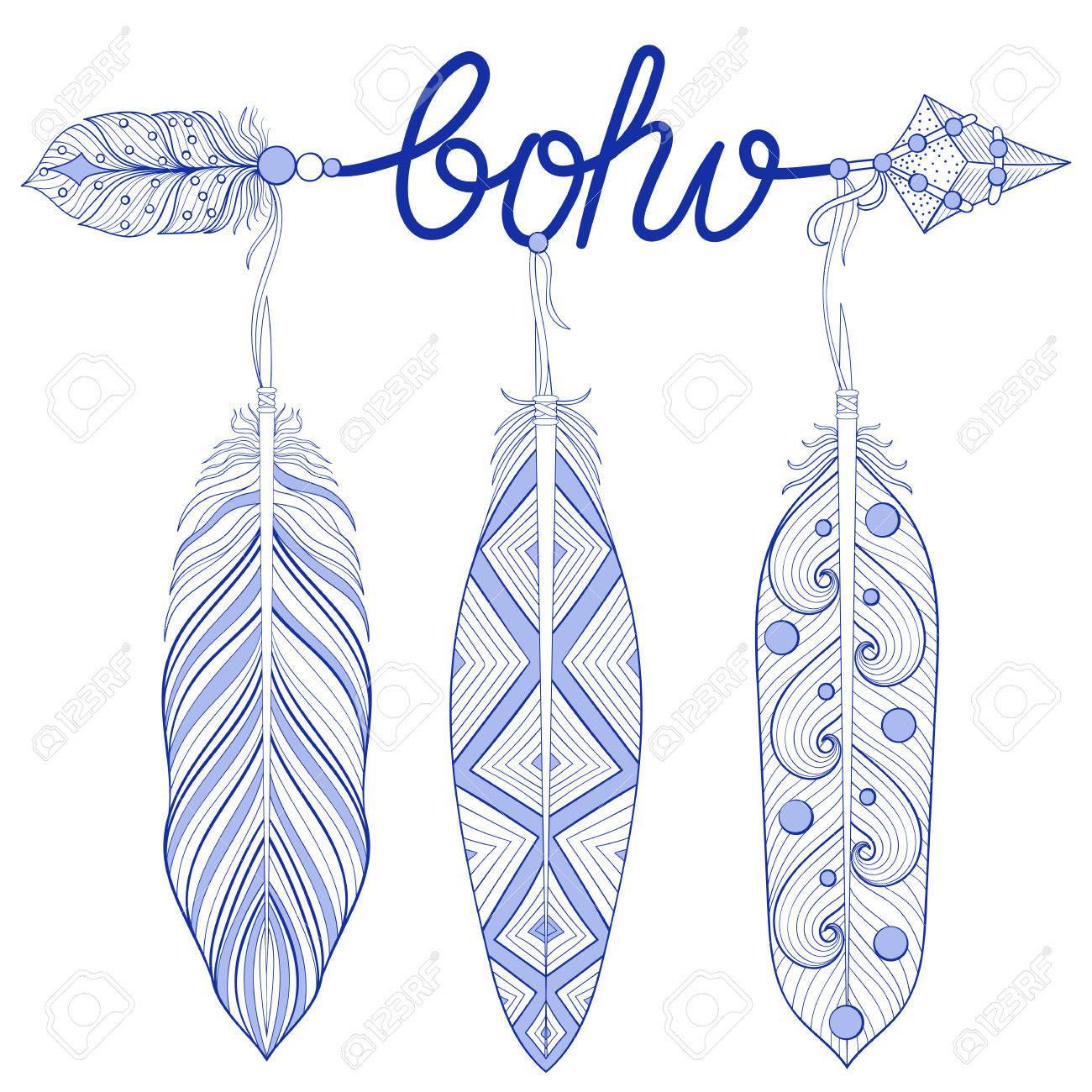 Blau Bohemian Pfeil, Amulett, Boho Buchstaben Mit Henna Federn ...